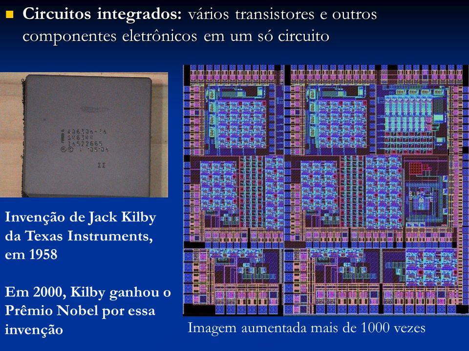 Circuitos integrados: vários transistores e outros componentes eletrônicos em um só circuito Circuitos integrados: vários transistores e outros compon