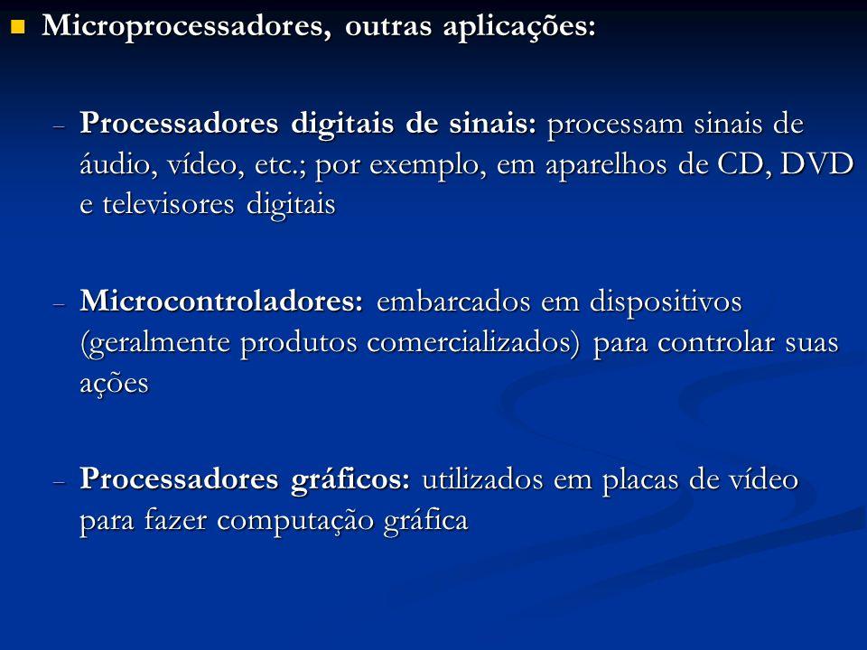 Microprocessadores, outras aplicações: Microprocessadores, outras aplicações: Processadores digitais de sinais: processam sinais de áudio, vídeo, etc.