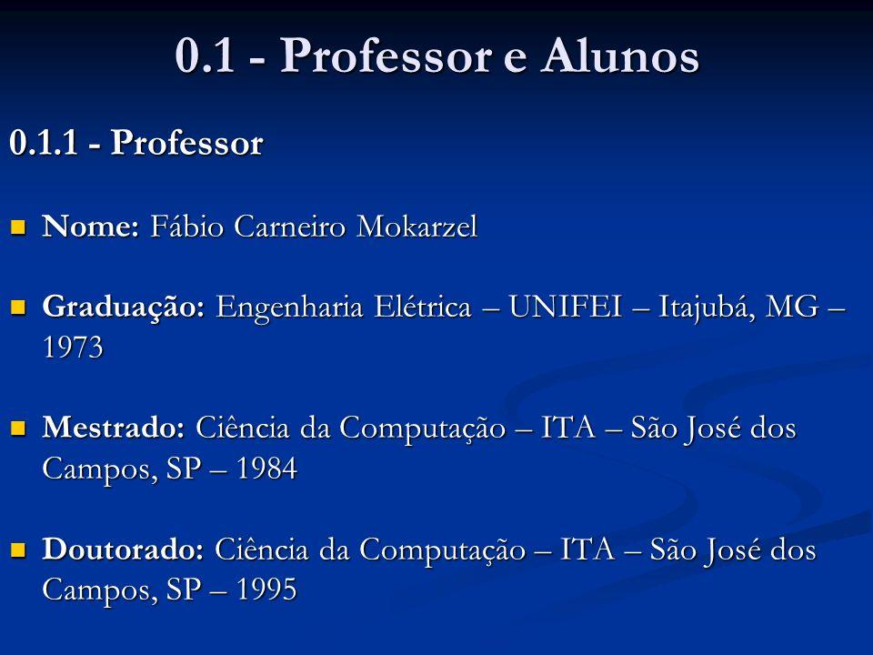 0.1 - Professor e Alunos 0.1.1 - Professor Nome: Fábio Carneiro Mokarzel Nome: Fábio Carneiro Mokarzel Graduação: Engenharia Elétrica – UNIFEI – Itaju