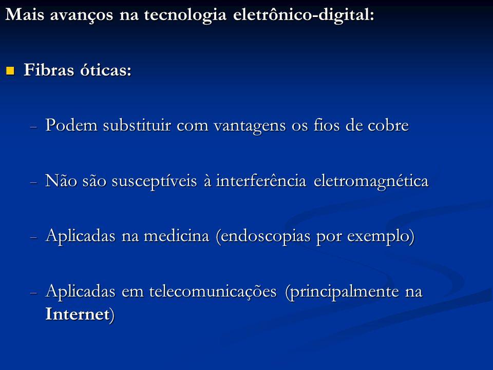 Mais avanços na tecnologia eletrônico-digital: Fibras óticas: Fibras óticas: Podem substituir com vantagens os fios de cobre Podem substituir com vant