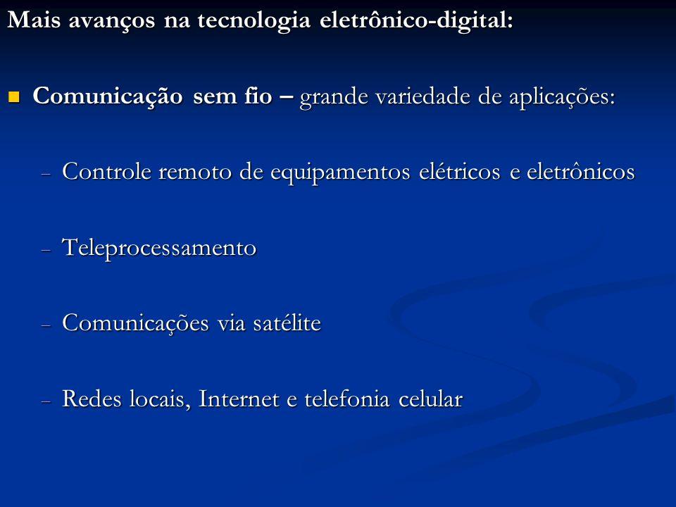 Mais avanços na tecnologia eletrônico-digital: Comunicação sem fio – grande variedade de aplicações: Comunicação sem fio – grande variedade de aplicaç