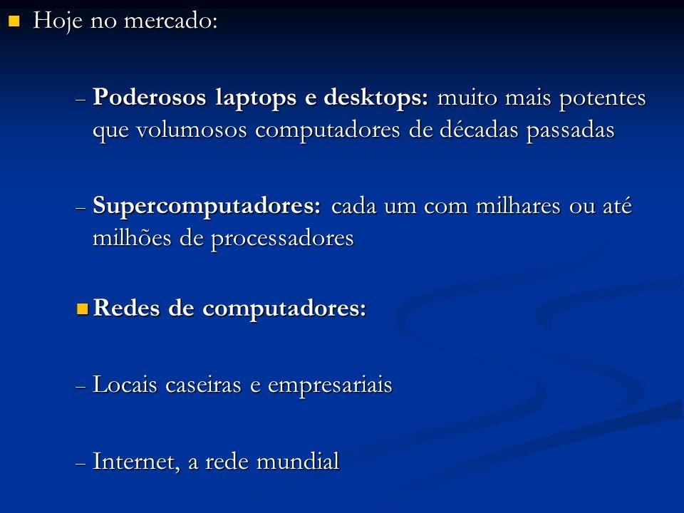 Hoje no mercado: Hoje no mercado: Poderosos laptops e desktops: muito mais potentes que volumosos computadores de décadas passadas Poderosos laptops e