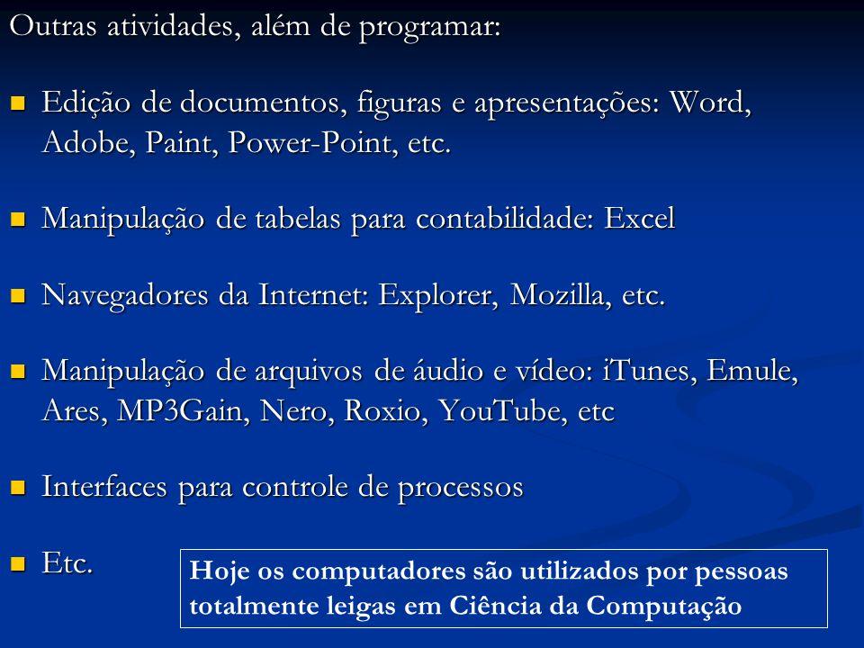 Outras atividades, além de programar: Edição de documentos, figuras e apresentações: Word, Adobe, Paint, Power-Point, etc. Edição de documentos, figur