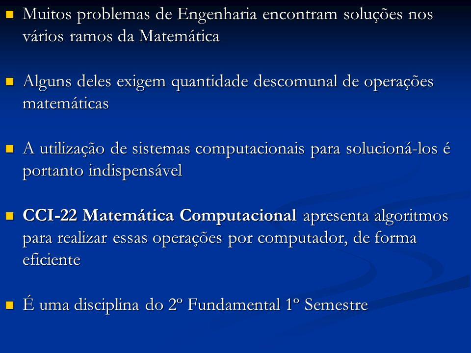 Muitos problemas de Engenharia encontram soluções nos vários ramos da Matemática Muitos problemas de Engenharia encontram soluções nos vários ramos da