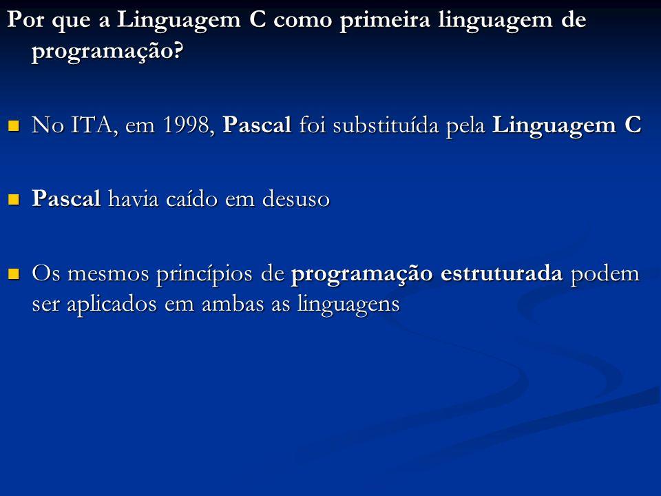 Por que a Linguagem C como primeira linguagem de programação? No ITA, em 1998, Pascal foi substituída pela Linguagem C No ITA, em 1998, Pascal foi sub