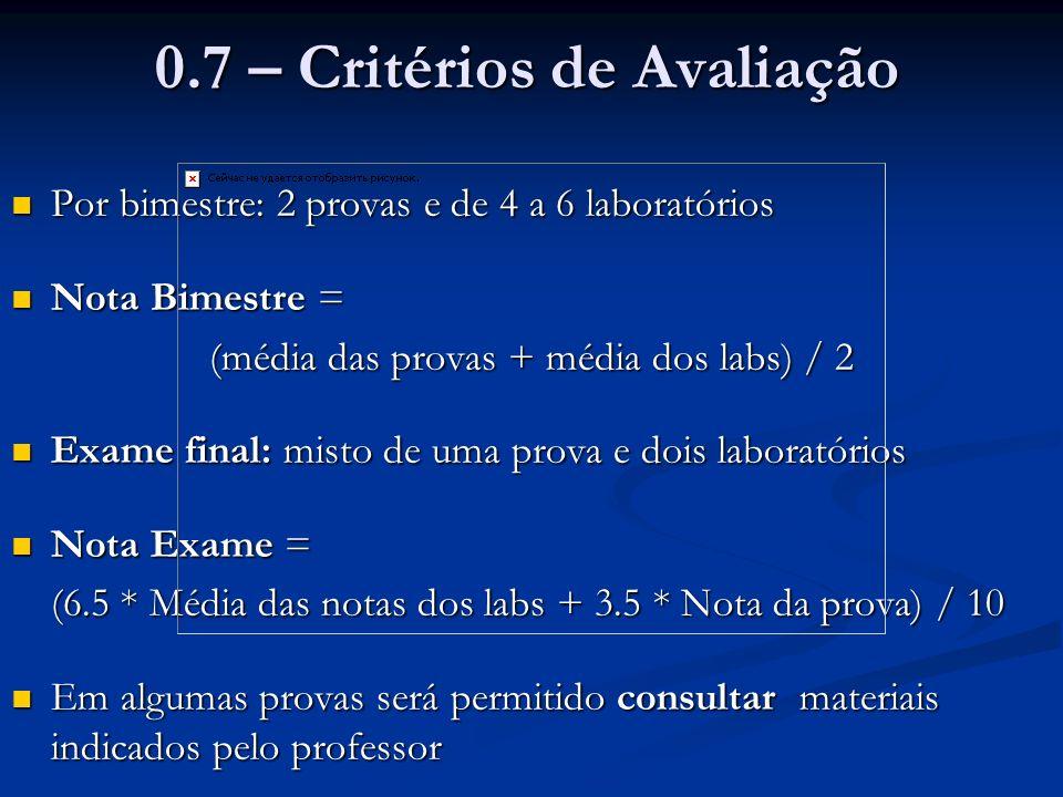 0.7 – Critérios de Avaliação Por bimestre: 2 provas e de 4 a 6 laboratórios Por bimestre: 2 provas e de 4 a 6 laboratórios Nota Bimestre = Nota Bimest