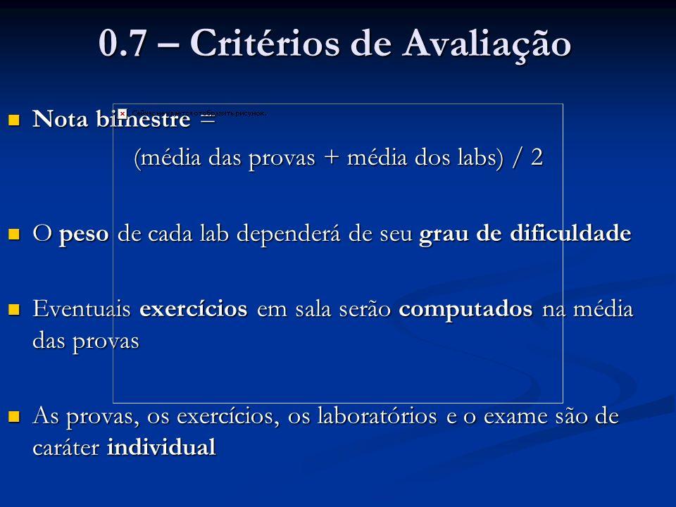 0.7 – Critérios de Avaliação Nota bimestre = Nota bimestre = (média das provas + média dos labs) / 2 O peso de cada lab dependerá de seu grau de dific