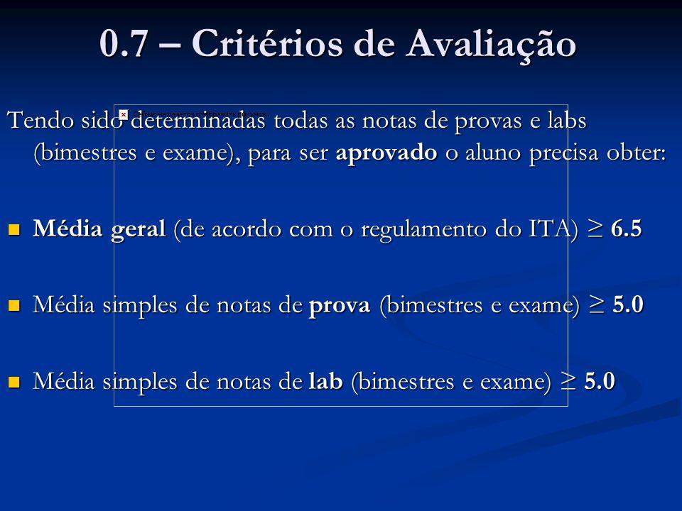 0.7 – Critérios de Avaliação Tendo sido determinadas todas as notas de provas e labs (bimestres e exame), para ser aprovado o aluno precisa obter: Méd
