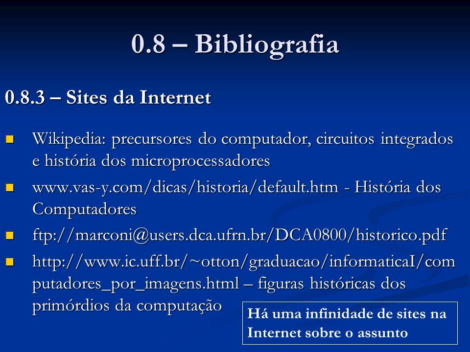 0.8 – Bibliografia 0.8.3 – Sites da Internet Wikipedia: precursores do computador, circuitos integrados e história dos microprocessadores Wikipedia: p