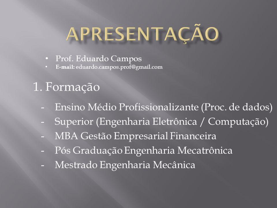 1. Formação -Ensino Médio Profissionalizante (Proc. de dados) -Superior (Engenharia Eletrônica / Computação) -MBA Gestão Empresarial Financeira -Pós G