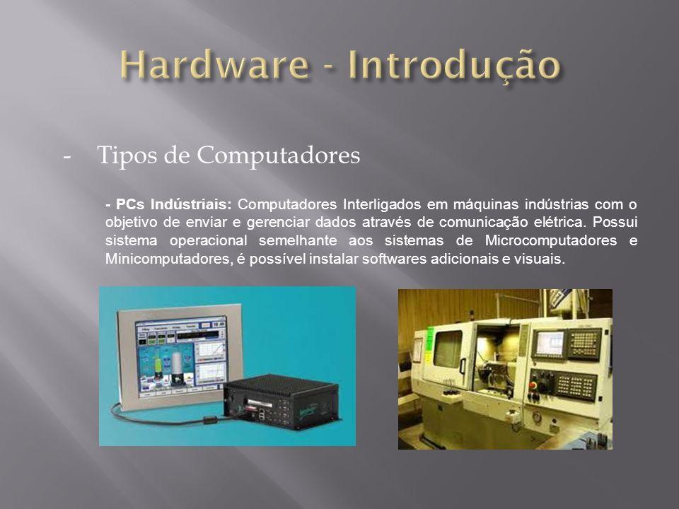 -Tipos de Computadores - PCs Indústriais: Computadores Interligados em máquinas indústrias com o objetivo de enviar e gerenciar dados através de comun