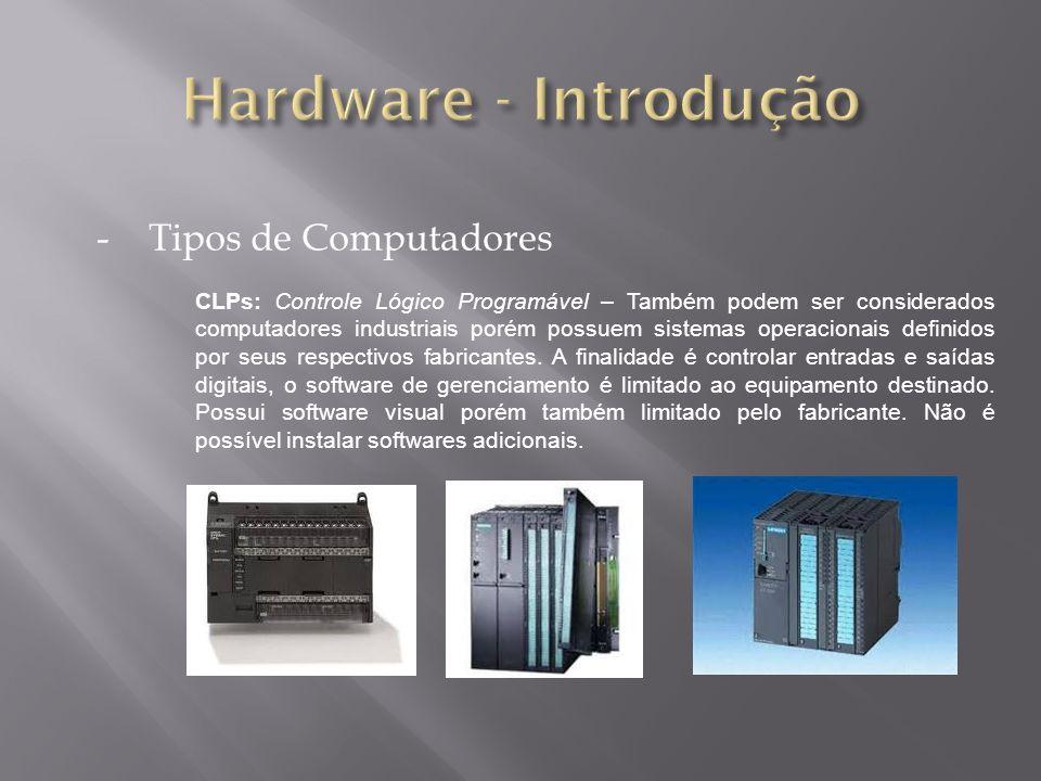 -Tipos de Computadores CLPs: Controle Lógico Programável – Também podem ser considerados computadores industriais porém possuem sistemas operacionais definidos por seus respectivos fabricantes.