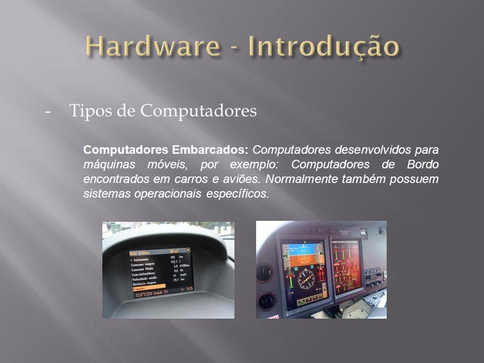 -Tipos de Computadores Computadores Embarcados: Computadores desenvolvidos para máquinas móveis, por exemplo: Computadores de Bordo encontrados em carros e aviões.