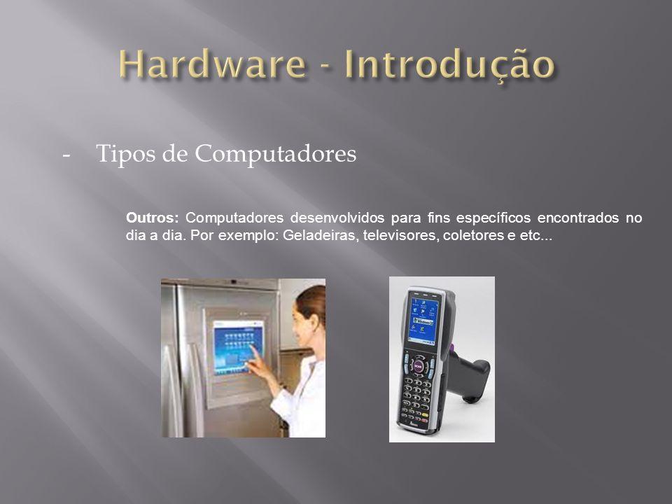 -Tipos de Computadores Outros: Computadores desenvolvidos para fins específicos encontrados no dia a dia. Por exemplo: Geladeiras, televisores, coleto