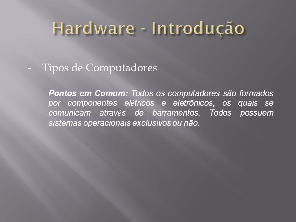 -Tipos de Computadores Pontos em Comum: Todos os computadores são formados por componentes el é tricos e eletrônicos, os quais se comunicam atrav é s de barramentos.