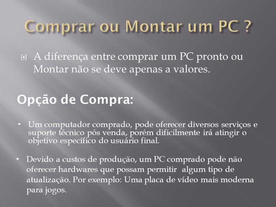 A diferença entre comprar um PC pronto ou Montar não se deve apenas a valores.