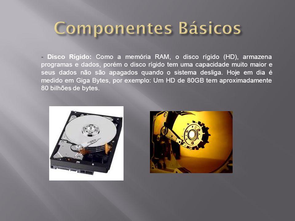 - Disco Rígido: Como a memória RAM, o disco rígido (HD), armazena programas e dados, porém o disco rígido tem uma capacidade muito maior e seus dados não são apagados quando o sistema desliga.