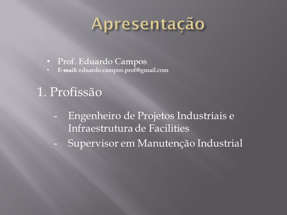 -Engenheiro de Projetos Industriais e Infraestrutura de Facilities -Supervisor em Manutenção Industrial Prof. Eduardo Campos E-mail: eduardo.campos.pr