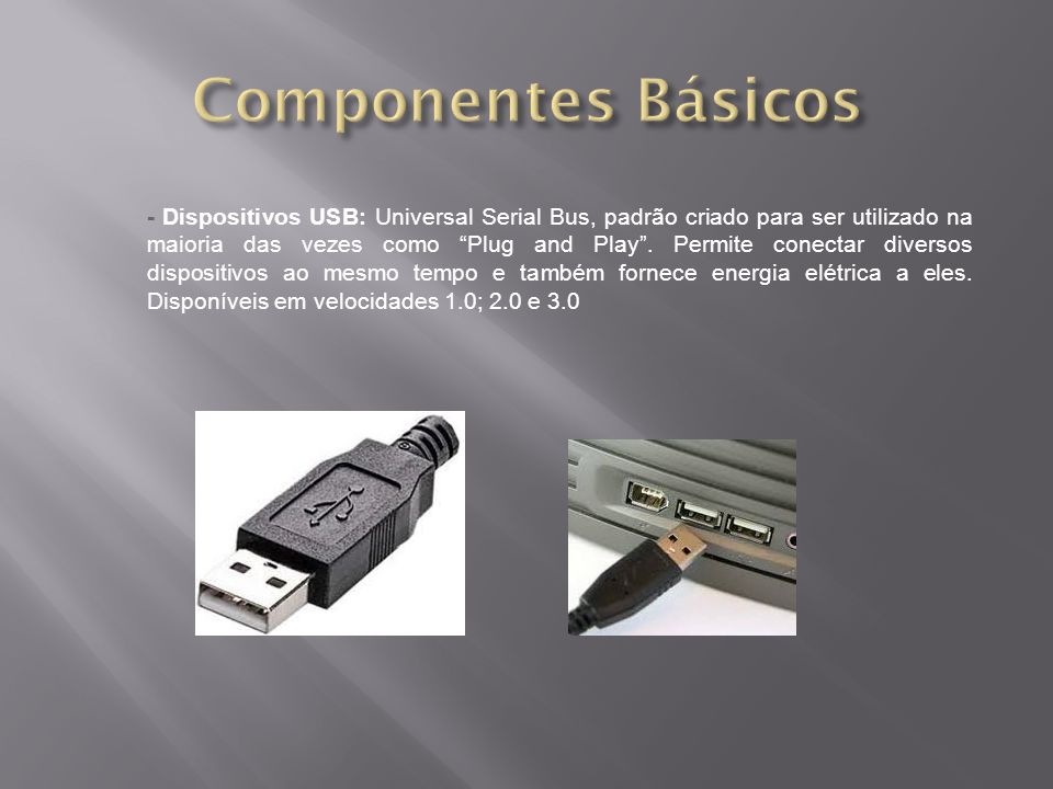 - Dispositivos USB: Universal Serial Bus, padrão criado para ser utilizado na maioria das vezes como Plug and Play. Permite conectar diversos disposit