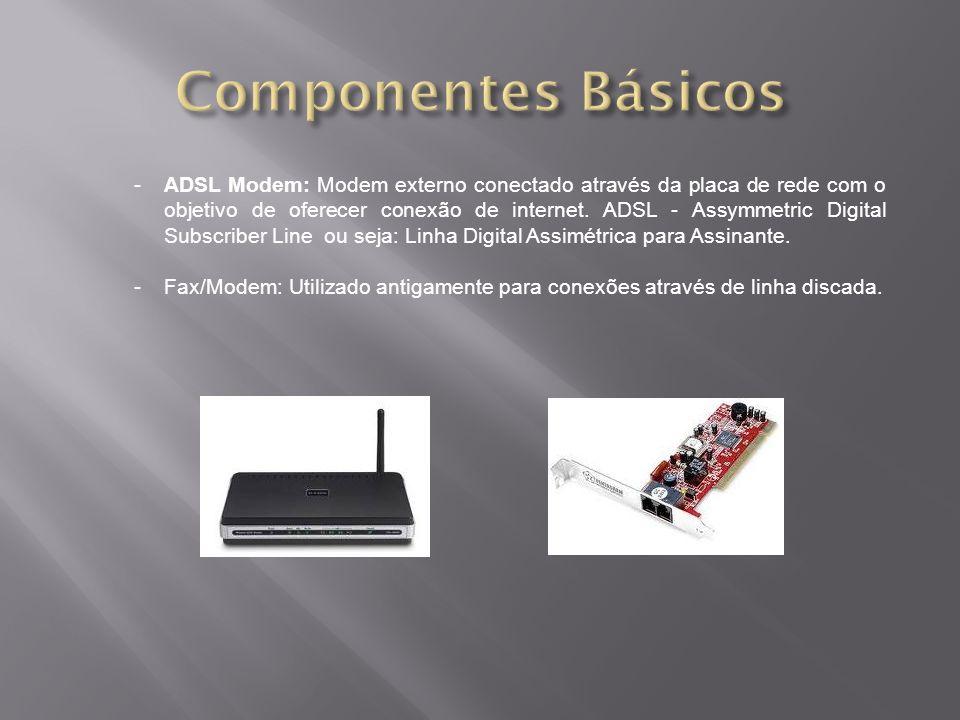 -ADSL Modem: Modem externo conectado através da placa de rede com o objetivo de oferecer conexão de internet. ADSL - Assymmetric Digital Subscriber Li