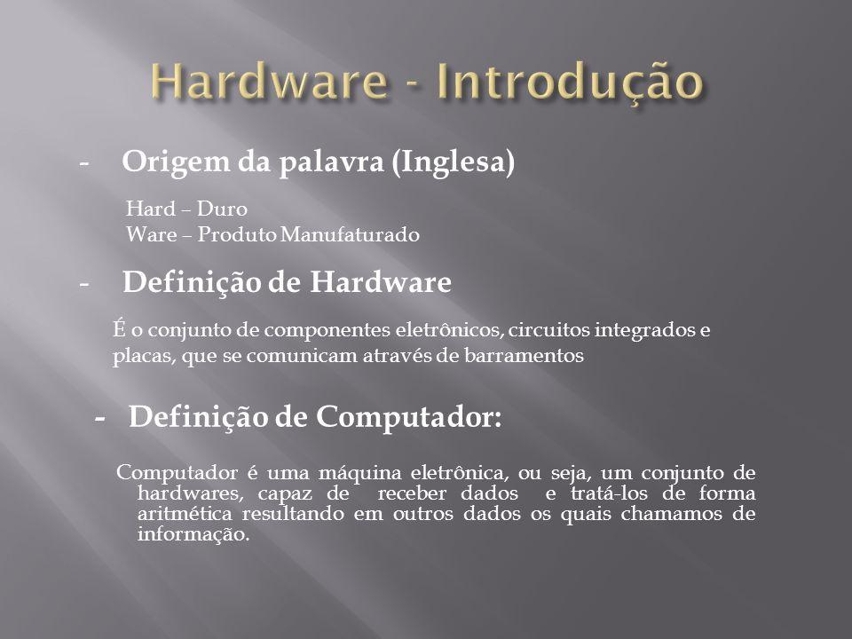 Hard – Duro Ware – Produto Manufaturado - Origem da palavra (Inglesa) - Definição de Computador: Computador é uma máquina eletrônica, ou seja, um conj