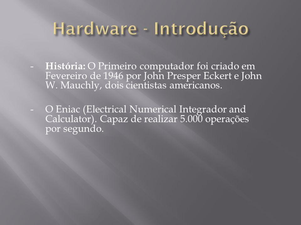 - História: O Primeiro computador foi criado em Fevereiro de 1946 por John Presper Eckert e John W. Mauchly, dois cientistas americanos. -O Eniac (Ele