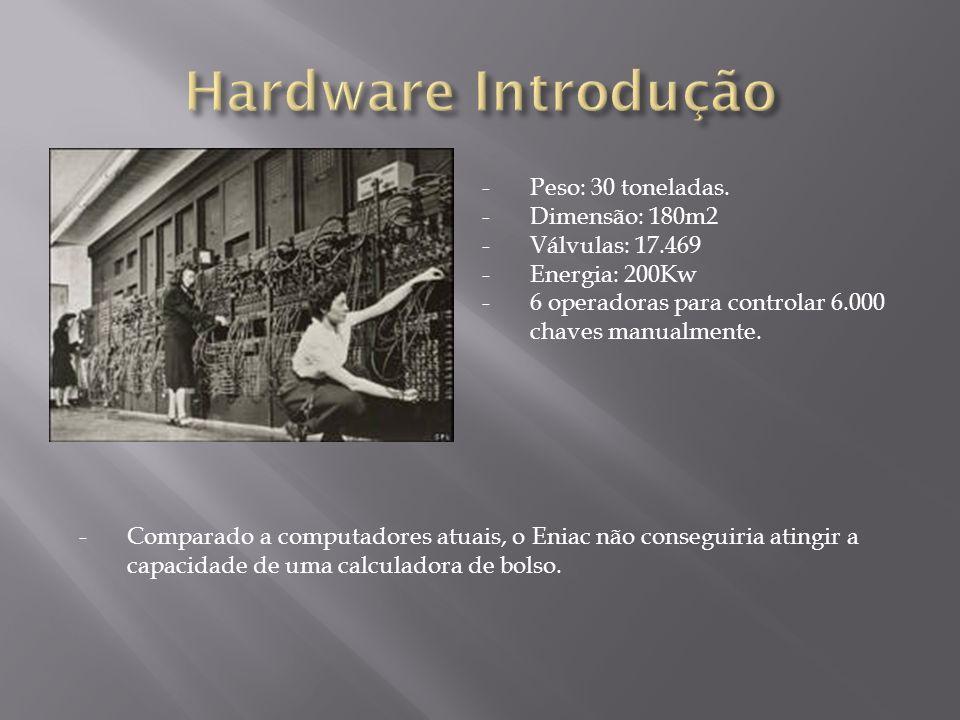 -Comparado a computadores atuais, o Eniac não conseguiria atingir a capacidade de uma calculadora de bolso. -Peso: 30 toneladas. -Dimensão: 180m2 -Vál