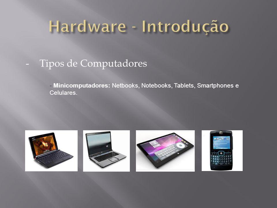 -Tipos de Computadores - Minicomputadores: Netbooks, Notebooks, Tablets, Smartphones e Celulares.