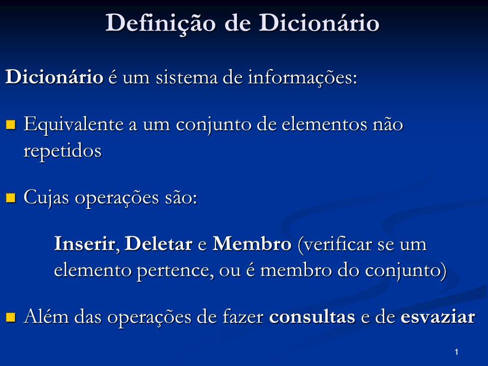 1 Definição de Dicionário Dicionário é um sistema de informações: Equivalente a um conjunto de elementos não repetidos Equivalente a um conjunto de el