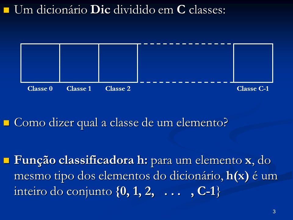 3 Um dicionário Dic dividido em C classes: Um dicionário Dic dividido em C classes: Como dizer qual a classe de um elemento? Como dizer qual a classe