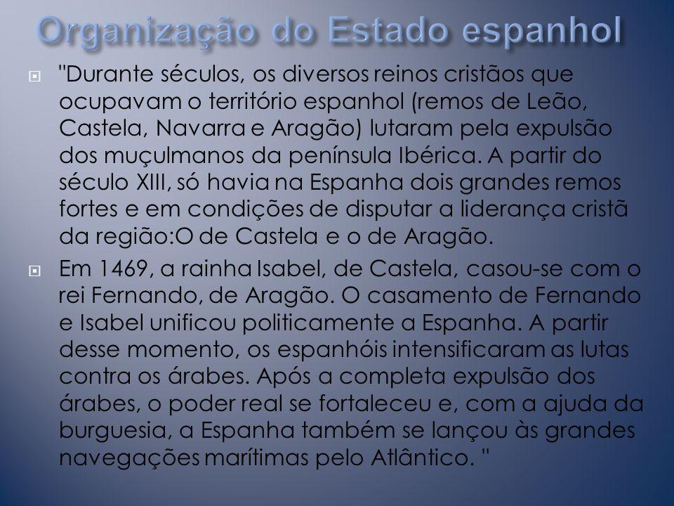 Durante séculos, os diversos reinos cristãos que ocupavam o território espanhol (remos de Leão, Castela, Navarra e Aragão) lutaram pela expulsão dos muçulmanos da península Ibérica.