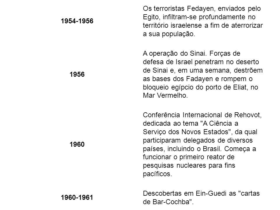 1950 Israel é recebida como membro da ONU. 1954-1956 Os terroristas Fedayen, enviados pelo Egito, infiltram-se profundamente no território israelense