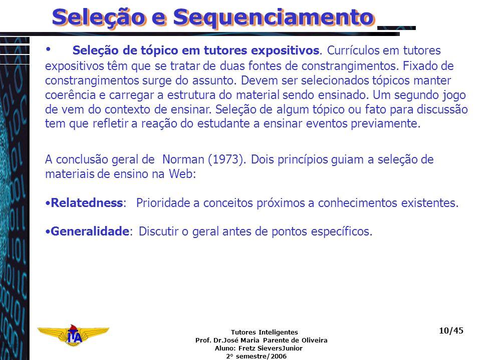 Tutores Inteligentes Prof. Dr.José Maria Parente de Oliveira Aluno: Fretz SieversJunior 2° semestre/2006 10/45 Seleção e Sequenciamento Seleção de tóp