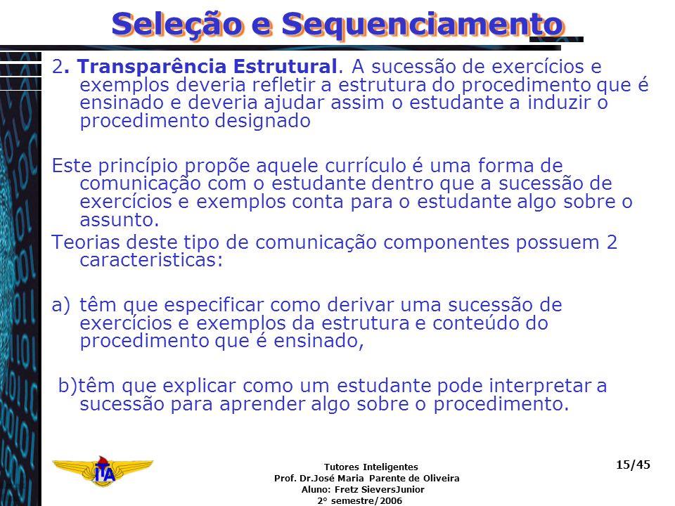 Tutores Inteligentes Prof. Dr.José Maria Parente de Oliveira Aluno: Fretz SieversJunior 2° semestre/2006 15/45 Seleção e Sequenciamento 2. Transparênc