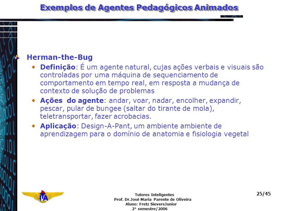 Tutores Inteligentes Prof. Dr.José Maria Parente de Oliveira Aluno: Fretz SieversJunior 2° semestre/2006 25/45 Exemplos de Agentes Pedagógicos Animado