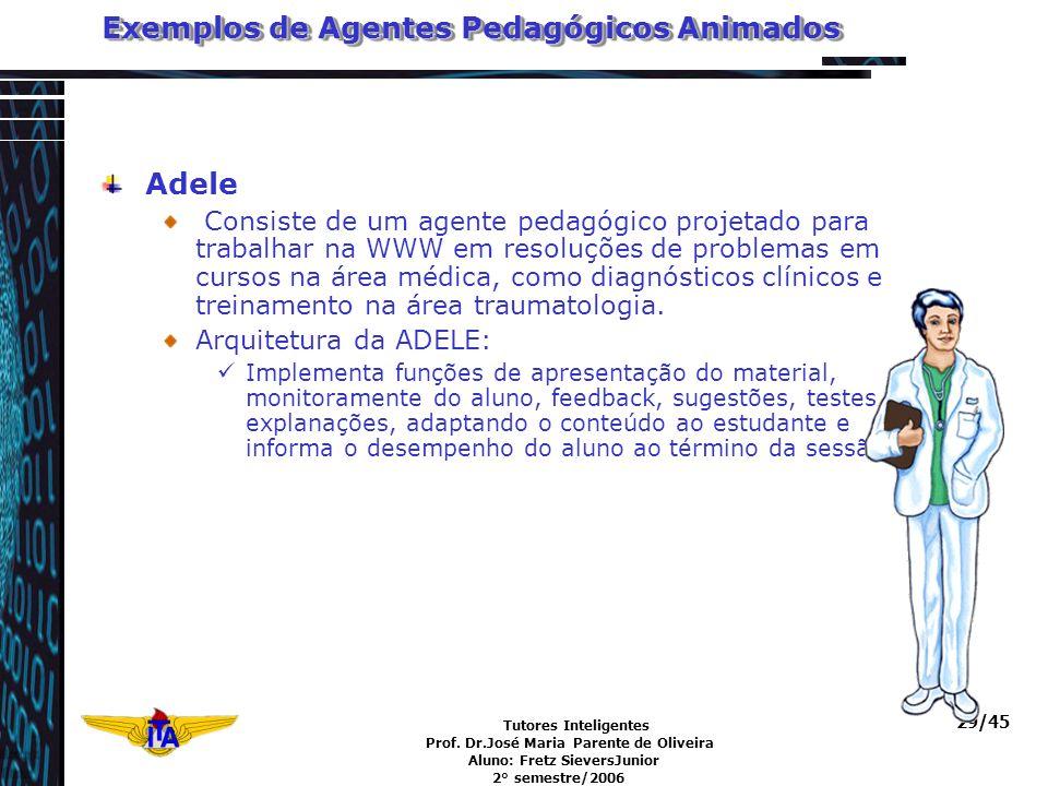 Tutores Inteligentes Prof. Dr.José Maria Parente de Oliveira Aluno: Fretz SieversJunior 2° semestre/2006 29/45 Exemplos de Agentes Pedagógicos Animado