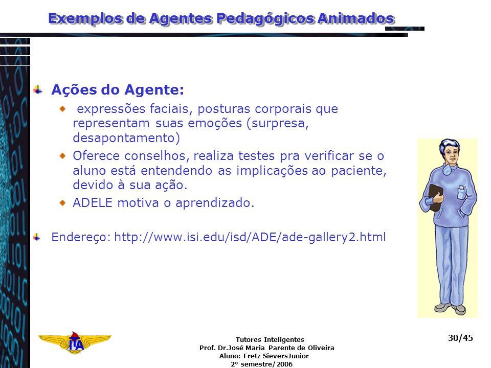 Tutores Inteligentes Prof. Dr.José Maria Parente de Oliveira Aluno: Fretz SieversJunior 2° semestre/2006 30/45 Exemplos de Agentes Pedagógicos Animado