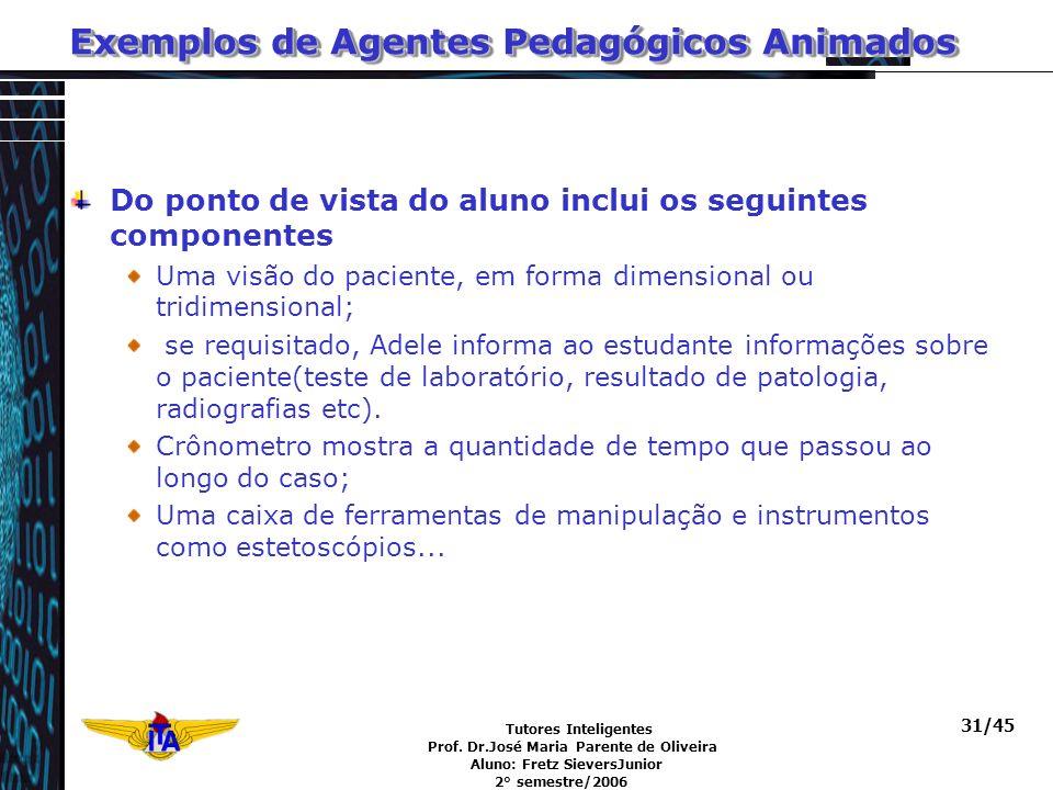 Tutores Inteligentes Prof. Dr.José Maria Parente de Oliveira Aluno: Fretz SieversJunior 2° semestre/2006 31/45 Exemplos de Agentes Pedagógicos Animado