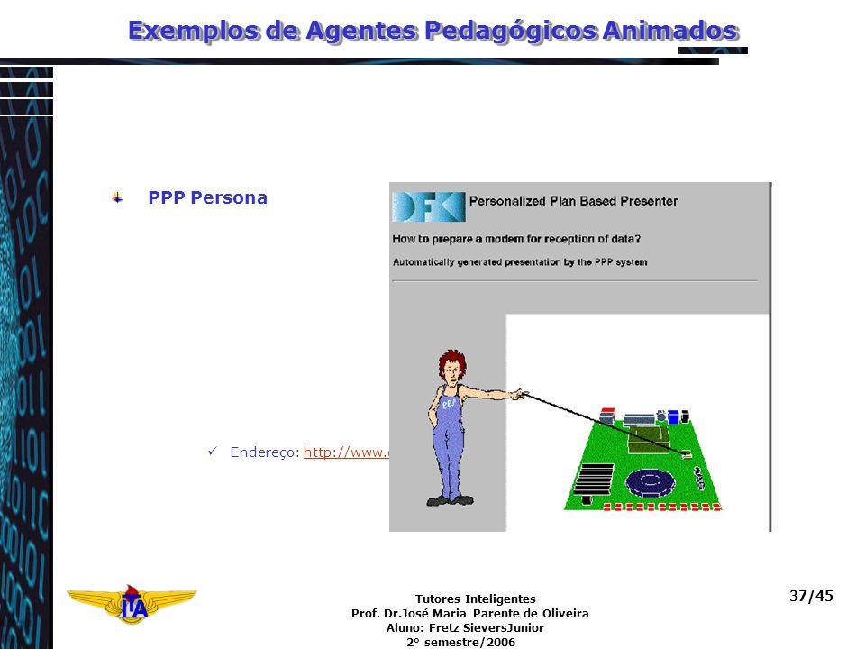 Tutores Inteligentes Prof. Dr.José Maria Parente de Oliveira Aluno: Fretz SieversJunior 2° semestre/2006 37/45 Exemplos de Agentes Pedagógicos Animado