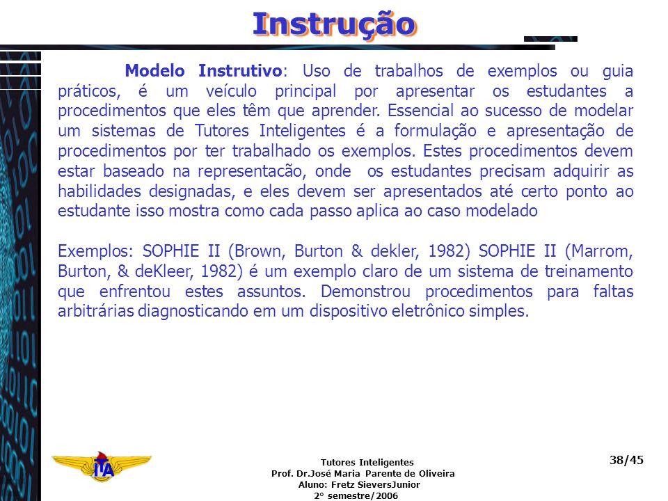 Tutores Inteligentes Prof. Dr.José Maria Parente de Oliveira Aluno: Fretz SieversJunior 2° semestre/2006 38/45InstruçãoInstrução Modelo Instrutivo: Us