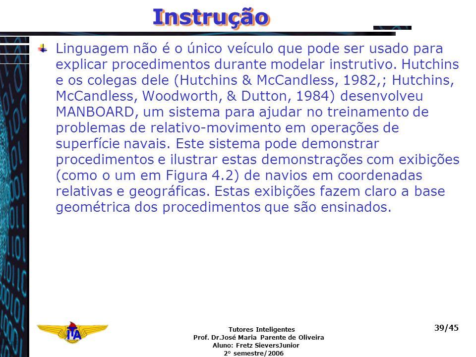 Tutores Inteligentes Prof. Dr.José Maria Parente de Oliveira Aluno: Fretz SieversJunior 2° semestre/2006 39/45InstruçãoInstrução Linguagem não é o úni