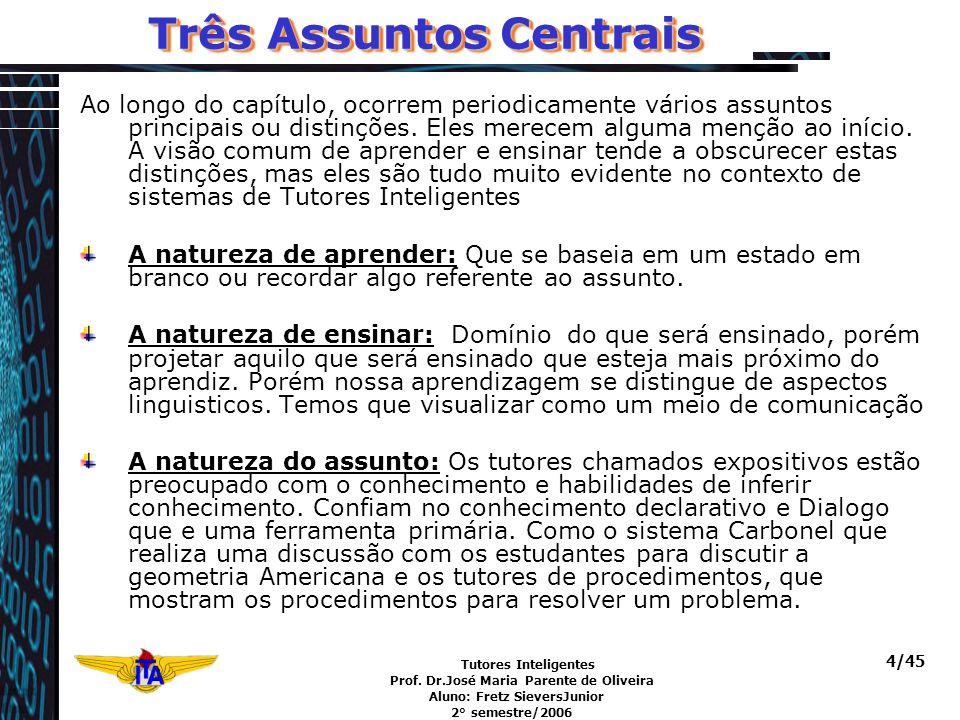 Tutores Inteligentes Prof. Dr.José Maria Parente de Oliveira Aluno: Fretz SieversJunior 2° semestre/2006 4/45 Três Assuntos Centrais Ao longo do capít