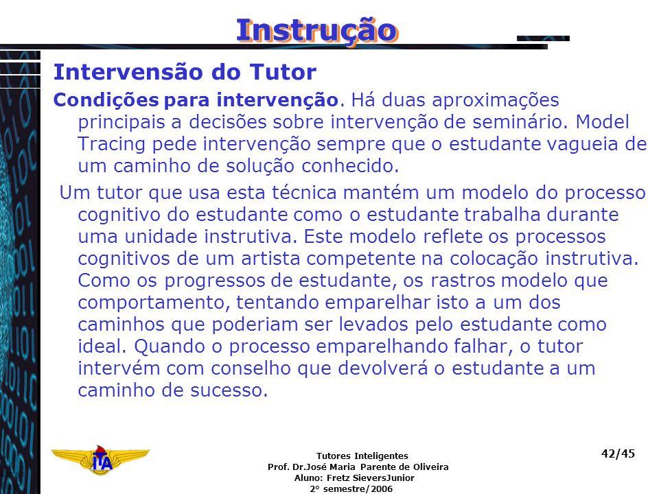 Tutores Inteligentes Prof. Dr.José Maria Parente de Oliveira Aluno: Fretz SieversJunior 2° semestre/2006 42/45 InstruçãoInstrução Intervensão do Tutor