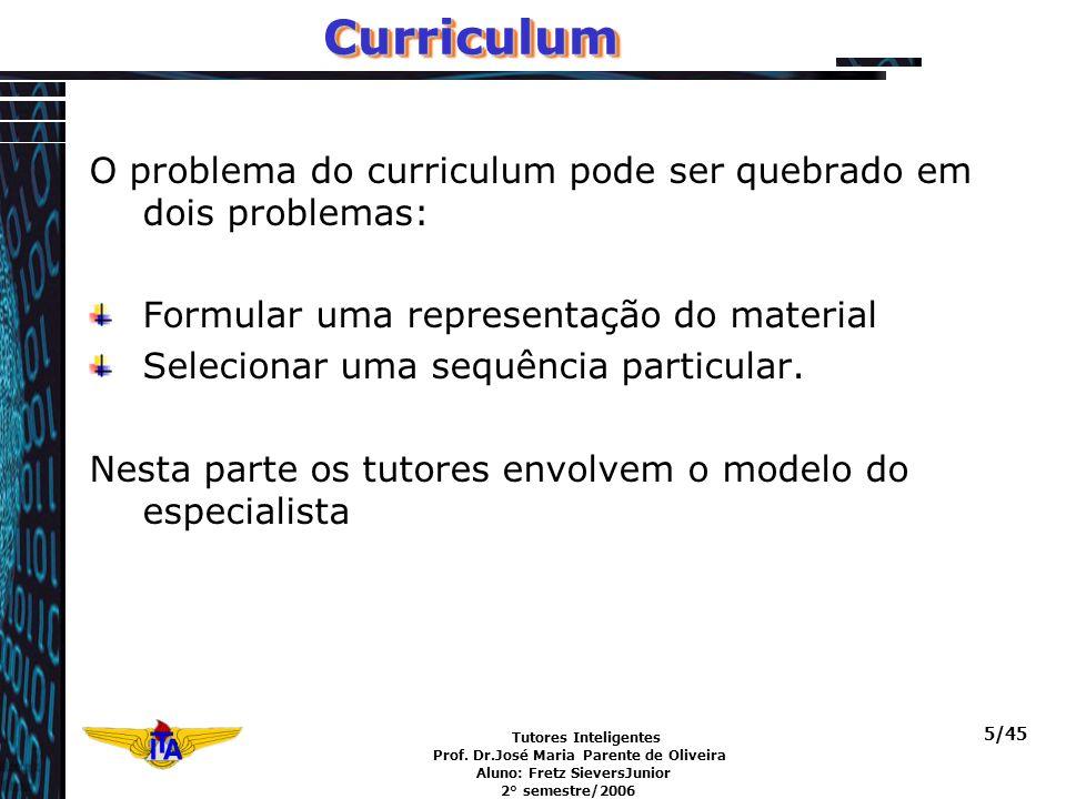 Tutores Inteligentes Prof. Dr.José Maria Parente de Oliveira Aluno: Fretz SieversJunior 2° semestre/2006 5/45CurriculumCurriculum O problema do curric