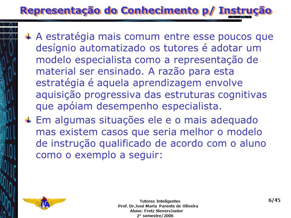 Tutores Inteligentes Prof. Dr.José Maria Parente de Oliveira Aluno: Fretz SieversJunior 2° semestre/2006 6/45 Representação do Conhecimento p/ Instruç