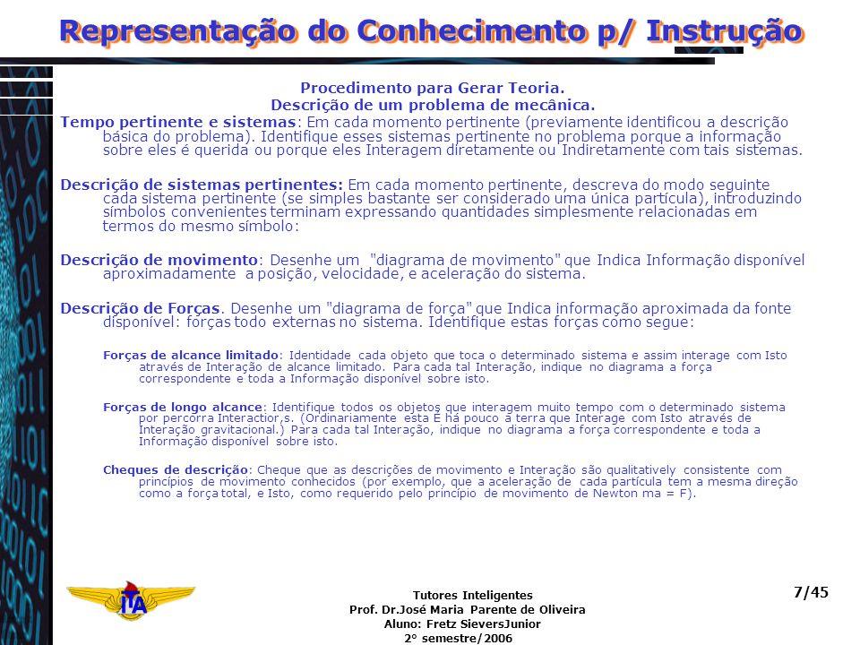 Tutores Inteligentes Prof. Dr.José Maria Parente de Oliveira Aluno: Fretz SieversJunior 2° semestre/2006 7/45 Representação do Conhecimento p/ Instruç