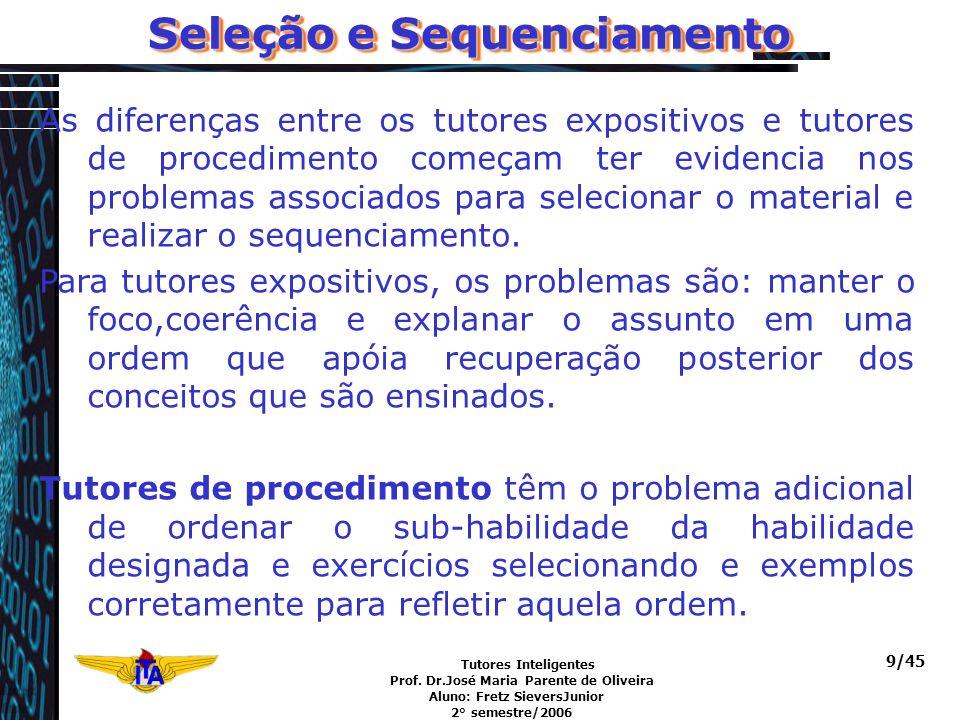 Tutores Inteligentes Prof. Dr.José Maria Parente de Oliveira Aluno: Fretz SieversJunior 2° semestre/2006 9/45 Seleção e Sequenciamento As diferenças e