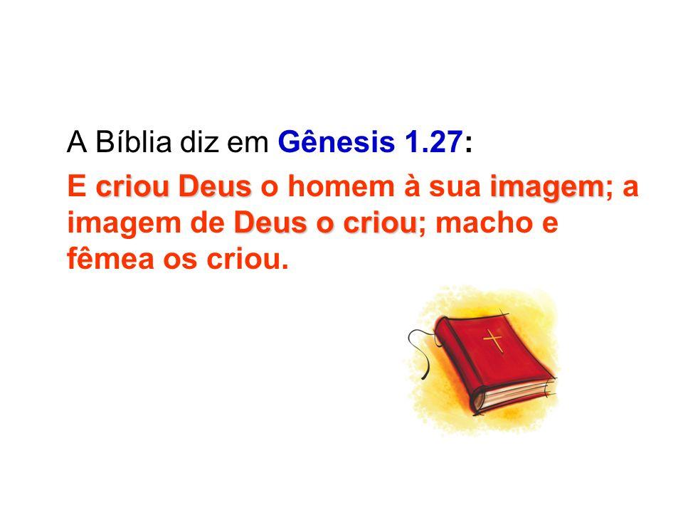 A Bíblia diz em Gênesis 1.27: criou Deusimagem Deus o criou E criou Deus o homem à sua imagem; a imagem de Deus o criou; macho e fêmea os criou.