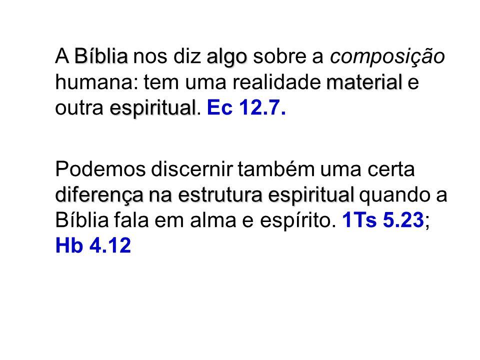 Bíbliaalgo material espiritual A Bíblia nos diz algo sobre a composição humana: tem uma realidade material e outra espiritual.