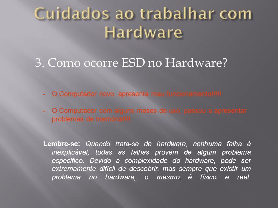3. Como ocorre ESD no Hardware? -O Computador novo, apresenta mau funcionamento!!!!! -O Computador com alguns meses de uso, passou a apresentar proble